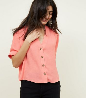 Coral V Neck Boxy Shirt
