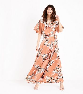 Sale Amazon Prices Cheap Price Blue Vanilla Floral Wrap Front Maxi Dress New Look 5Cl43B