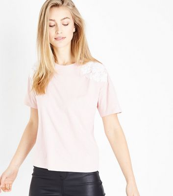 Pink Floral Applique Shoulder T-Shirt