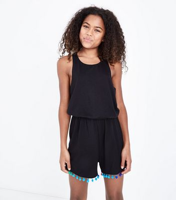 Teens Black Pom Pom Trim Lounge Playsuit
