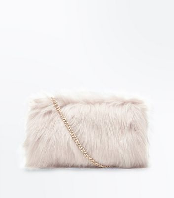 Shell Pink Faux Fur Chain Cross Body Bag