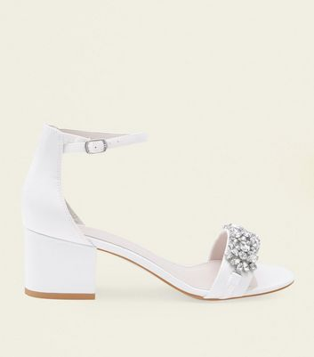 Off White Satin Embellished Wedding Shoes