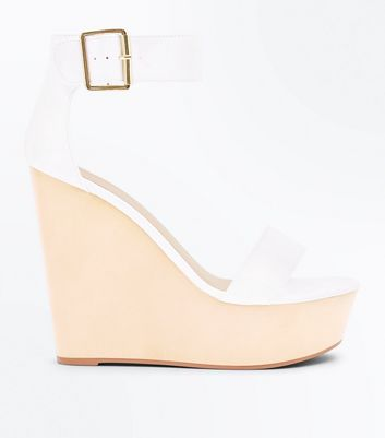 White Ankle Strap Extreme Platform Wedges