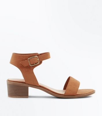 Wide Fit Tan Suedette Low Block Heel Sandals