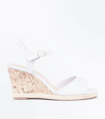 Wide Fit White Peep Toe Cork Wedges