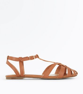 Tan Caged Flat Sandals