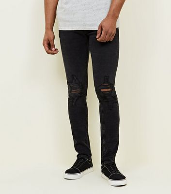 Black Washed Ripped Skinny Jeans