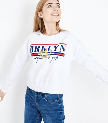 Teens White Brooklyn Slogan Sweatshirt