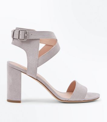 Grey Suedette Ankle Cross Strap Block Heels
