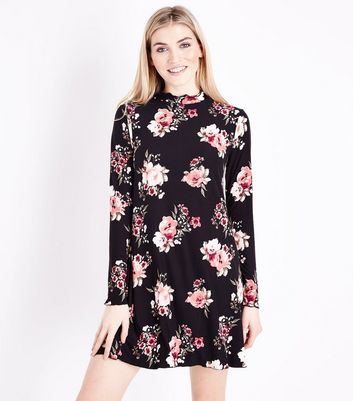 Black Floral Jersey Swing Dress