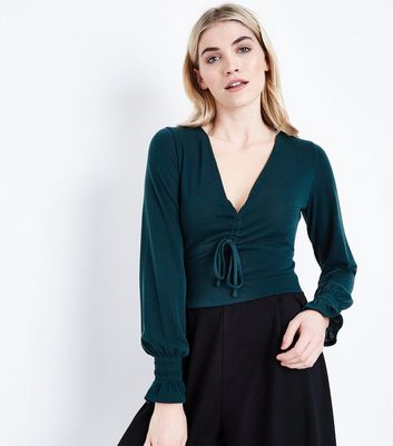 Dark Green Ruched Front Crop Top