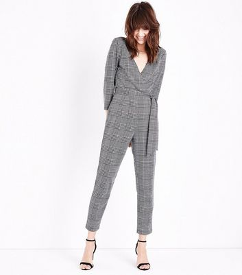 Grey Prince of Wales Check Jumpsuit