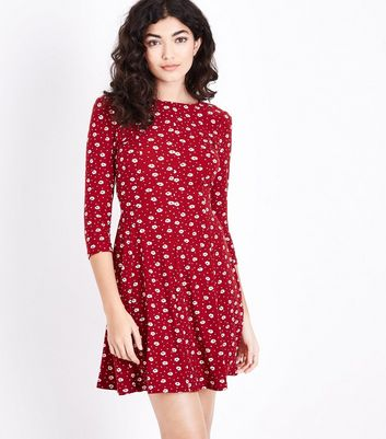 Black Ditsy Floral Soft Touch Skater Dress