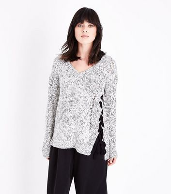 QED Grey Marl Lattice Lace Up Asymmetric Jumper