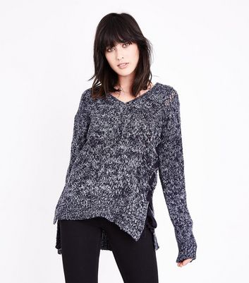 QED Blue Marl Lattice Lace Up Asymmetric Jumper