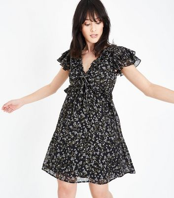 Black Floral Frill Trim Chiffon Tea Dress