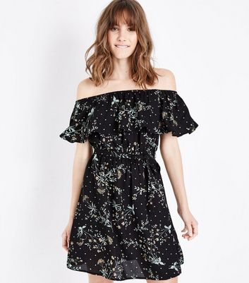 Black Floral Spot Print Bardot Neck Dress