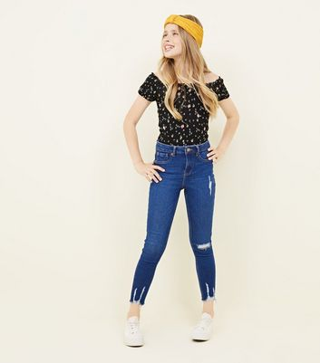 Girls Bright Blue Ripped High Rise Super Skinny Jeans