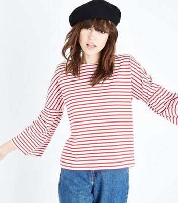 Red Stripe Bell Sleeve T-Shirt