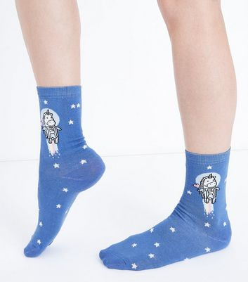 Blue Unicorn Spacegirl Pattern Socks