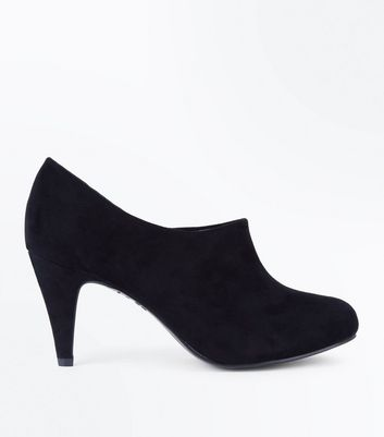 Wide Fit Black Suedette Cone Heel Shoe Boots