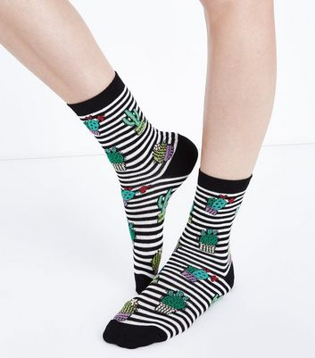 Black Stripe Cactus Socks
