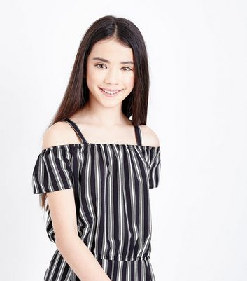 Teens Black Stripe Cold Shoulder Top
