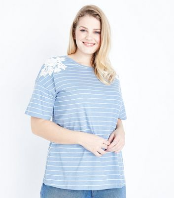 Curves Blue Stripe Applique Shoulder T-Shirt