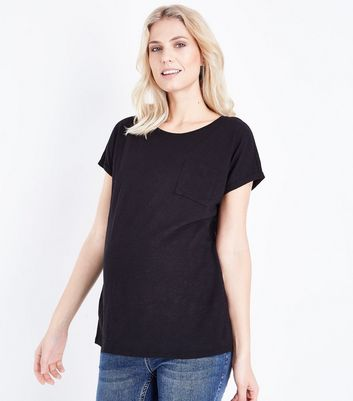 Maternity Black Organic Cotton Pocket T-Shirt