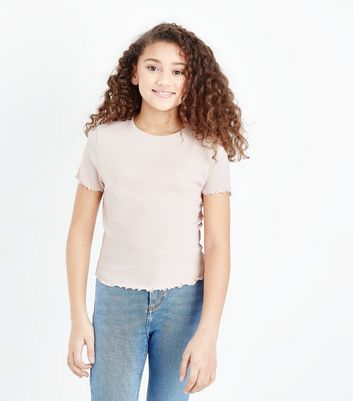Teens Pale Pink Ribbed Frill Edge T-Shirt