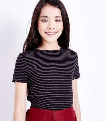 Teens Black Stripe Ribbed Frill Edge T-Shirt