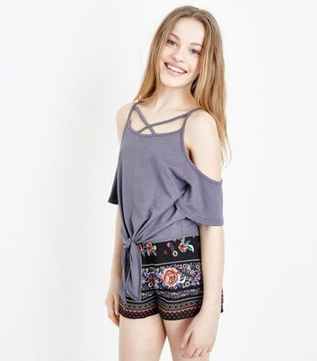 Teens Dark Grey Lattice Tie Front Cold Shoulder Top