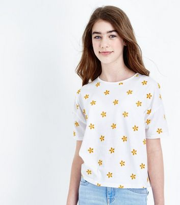 Teens White Floral Embroidered T-Shirt