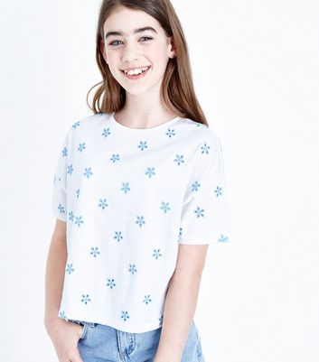 Teens Blue Floral Embroidered T-Shirt