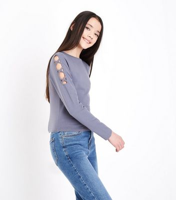 Teens Grey Lattice Shoulder Top