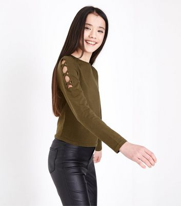 Teens Khaki Lattice Shoulder Top