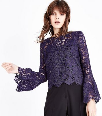 Apricot Purple Lace Scallop Hem Bell Sleeve Top