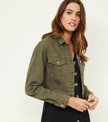 Khaki Cropped Denim Jacket