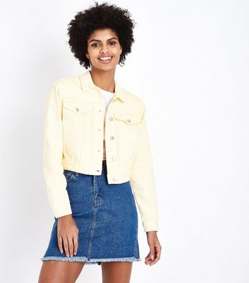 Yellow Cropped Denim Jacket