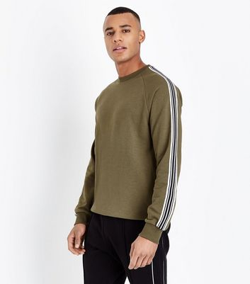 Khaki Stripe Tape Sleeve Sweatshirt