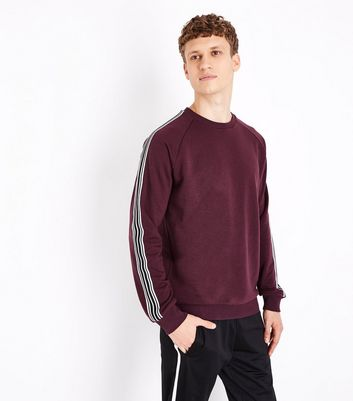 Burgundy Stripe Tape Sleeve Sweater