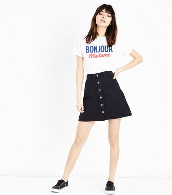 Black Button Front Denim Mini Skirt