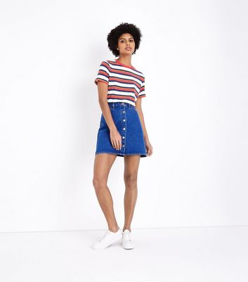 Bright Blue Button Front Denim Mini Skirt by New Look