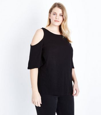 Curves Black Cold Shoulder T-Shirt