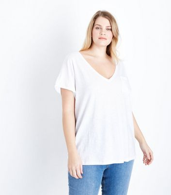 Curves White Organic Cotton V Neck T-Shirt