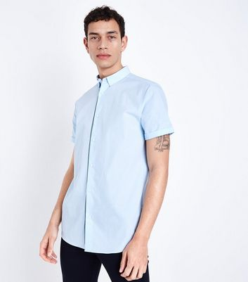 Pale Blue Tape Detail Poplin Shirt