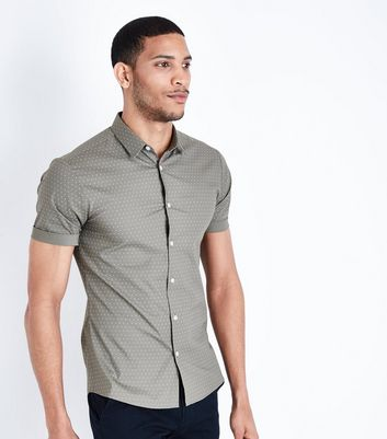 Olive Polka Dot Muscle Fit Poplin Shirt