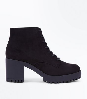 Black Suedette Chunky Cleated Sole Lace Up Boots