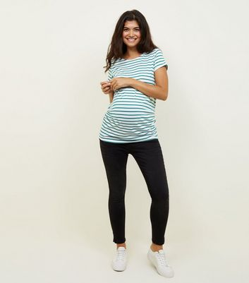 Maternity Black Angle Hem Over Bump Jeans