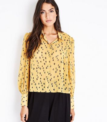 Mustard Floral Balloon Sleeve Blouse